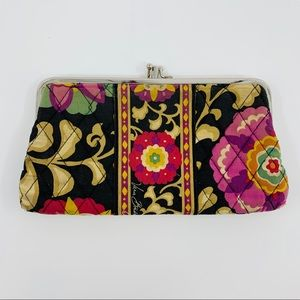 Vera Bradley Black Purple Orange Tan Floral Clutch